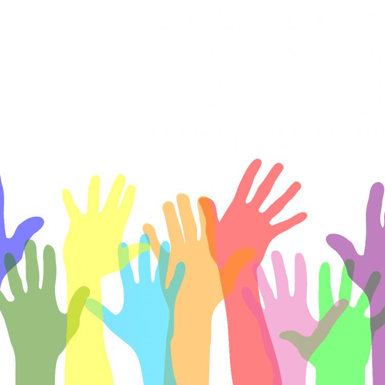 vereinfachte Darstellung von mehreren Händen, die nach oben greifen